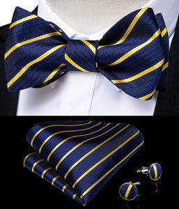 Dark Blue Golden Striped Self-tied Silk Bow Tie Pocket Square Cufflinks Set with Lapel Pin