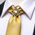Shinning Yellow Plaid Men's Necktie Pocket Square Cufflinks Set with Tie Buckle