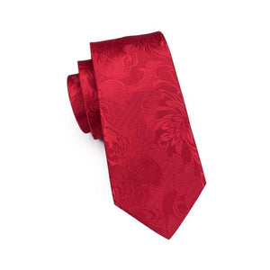Wedding Red Floral Tie Pocket Square Cufflinks Set