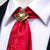 Positive Red Floral Men's Necktie Pocket Square Cufflinks Set with Tie Buckle