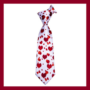 Red Lovely Heart Tie Pocket Square Cufflinks Set with Lapel Pin