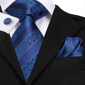 New Navy Blue Striped  Silk Men's Necktie Pocket Square Cufflinks Set