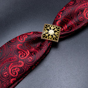 Black Red Paisley Men's Necktie Pocket Square Cufflinks Set with Tie Buckle