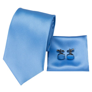 New Beige Solid Soft Silk Men's Tie Pocket Square Cufflinks Set