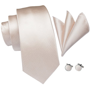New Champagne Solid Men's Tie Handkerchief Cufflinks Set