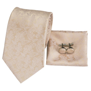 Papayawhip Champagne Paisley Men's Tie Hanky Cufflinks Set with Collar Pin
