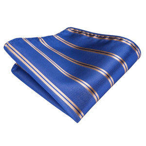 Royal Blue Classic Striped Men's Silk Tie Hanky Cufflinks Set with Tie Clip