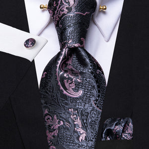 Black Grey Pink Paisley Men's Tie Hanky Cufflinks Set with Collar Pin