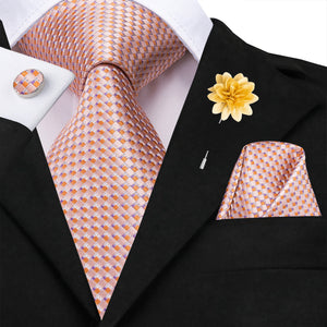 Pink Weave Pattern Plaid Men's Necktie Pocket Square Cufflinks Set with Lapel Pin