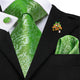 Fluorescent Green Novelty Silk Men's Tie Pocket Square Cufflinks Set with Lapel Pin