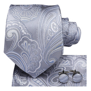 Silver Blue Paisley Men's Necktie Pocket Square Cufflinks Set