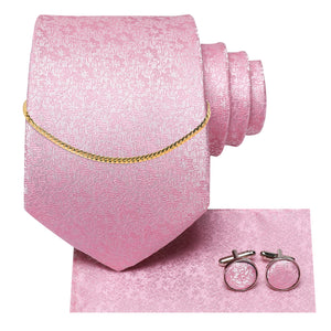 Baby Pink Floral Silk Fabric Men's Tie Hanky Cufflinks Set with Tie Chain