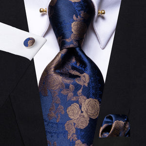 Deep Blue Brown Floral Men's Tie Hanky Cufflinks Set with Collar Pin