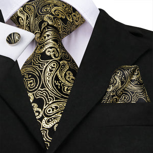New Black Golden Line Paisley Men's Necktie Pocket Square Cufflinks Set