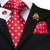 Xmas Red White Polka Dot Men's Tie Handkerchief Cufflinks Set with Lapel Pin