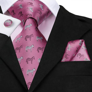 Light Rose Red Zebra Novelty Necktie Pocket Square Cufflinks Set