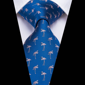 Navy Blue Pink Flamingo Novelty Men's Tie Pocket Square Cufflinks Set