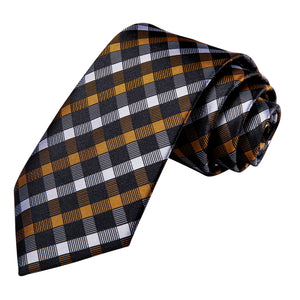 Black Golden White Plaid Necktie Pocket Square Cufflinks Set