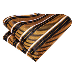Black Golden Striped Necktie Pocket Square Cufflinks Set