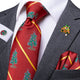 Christmas Red Xmas Tree Novelty Men's Necktie Pocket Square Cufflinks Set 2020 with Lapel Pin