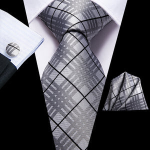 Gray Black Plaid Necktie Pocket Square Cufflinks Set