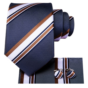 Blue Brown Striped Necktie Pocket Square Cufflinks Set