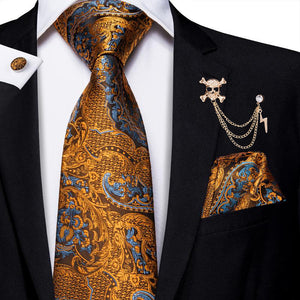 Golden Brown Paisley Men's Necktie Pocket Square Cufflinks Set with Lapel Pin