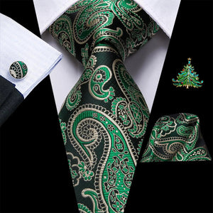 New Dark Green Paisley Men's Necktie Pocket Square Cufflinks Set with Lapel Pin
