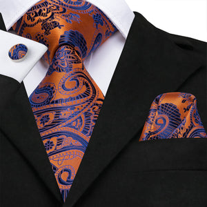 New Silver Orange Blue Paisley Men's Necktie Pocket Square Cufflinks Set