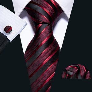 Luxury Shinning Red Striped Silk Fabric Tie Hanky Cufflinks Set