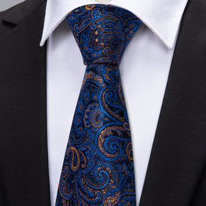Navy Blue Shining Paisley Men's Single Necktie