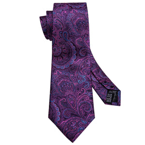 Luxury Purple Shining Paisley Men's Single Necktie