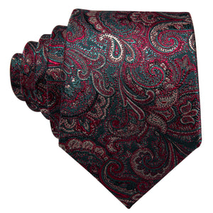 Luxury Red Shining Paisley Men's Single Necktie