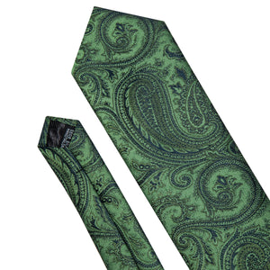 Luxury Green Paisley Silk Men's Single Necktie