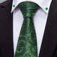Luxury Green Paisley Silk Men's Single Necktie with Clover Collar Pin