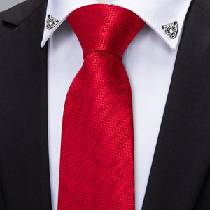 Classic Red Striped Silk Single Necktie Set with Silver Leopard Shape Collar Pin