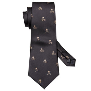 Black Brown Skull Novelty Men's Tie Handkerchief Cufflinks Set