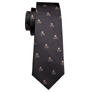 Black Brown Skull Novelty Men's Necktie Pocket Square Cufflinks Set with Golden Skull Lapel Pin