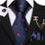 Deep Blue Red Skull Novelty Men's Necktie Pocket Square Cufflinks Set with Lapel Pin