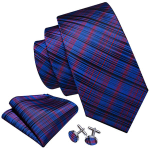 Blue Black Red Plaid Men's Tie Handkerchief Cufflinks Set