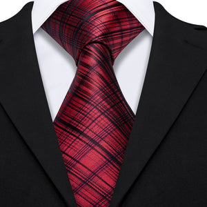 Red Black Plaid Men's Tie Handkerchief Cufflinks Set