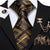 Brown Black Plaid Men's Necktie Pocket Square Cufflinks Set with Lapel Pin
