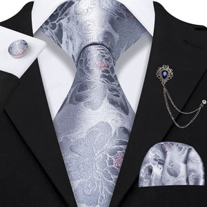 Shinning Silver Floral Men's Necktie Pocket Square Cufflinks Set with Lapel Pin