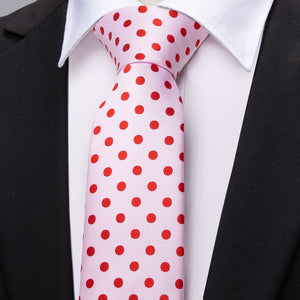 New Baby Red Pink Polka Dot Men's Necktie Pocket Square Cufflinks Set