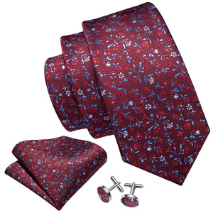 Burgundy Red Floral Men's Tie Handkerchief Cufflinks Set
