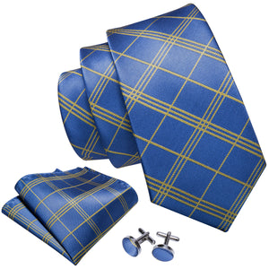 Sky Blue Plaid Men's Tie Handkerchief Cufflinks Set