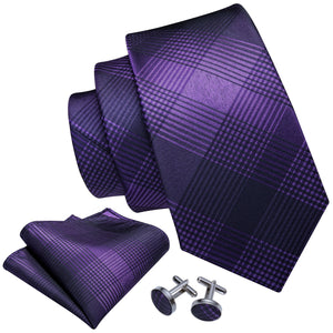 Shining Purple Plaid Men's Tie Handkerchief Cufflinks Set