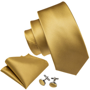 New Khaki Striped Silk Men's Tie Handkerchief Cufflinks Set