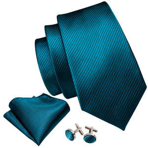 Silver Peacock Blue Striped Men's Tie Handkerchief Cufflinks Set