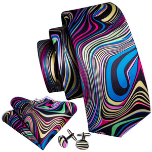Blue Swirl Novelty Print Men's Necktie Pocket Square Cufflinks Set